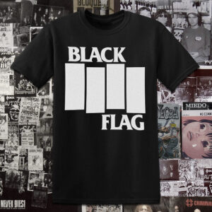 Polera Black Flag serigrafia